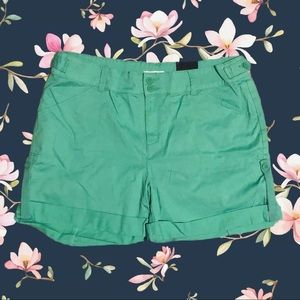 Pants - Ricki's pastel green shorts with cuffs and trim
